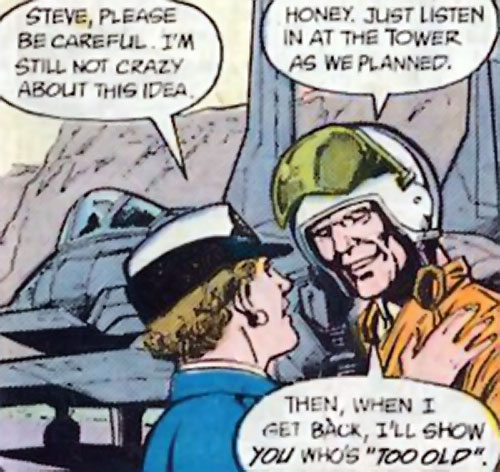 Steve Trevor (Wonder Woman ally) (Post-Crisis DC Comics) with a fighter pilot helmet