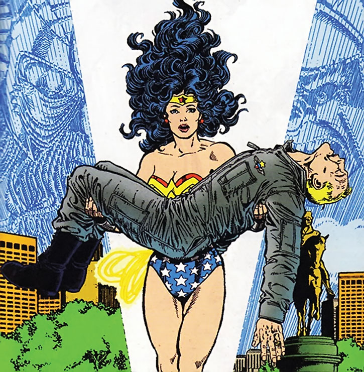 Wonder Woman carrying Steve Trevor, by George Perez