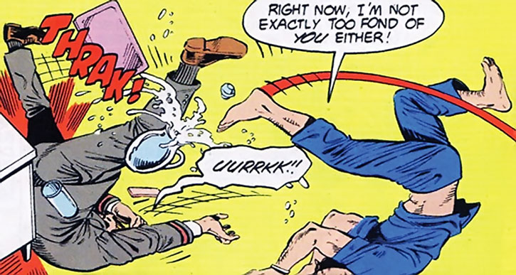 Steve Trevor fights a guard in a hospital
