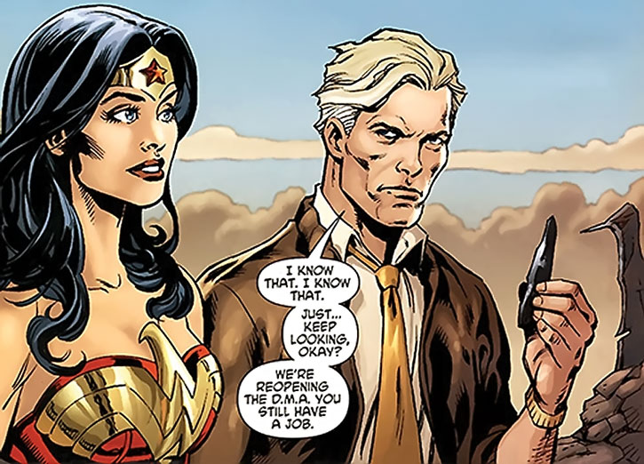 Steve Trevor and Wonder Woman among the ruins of the DMA