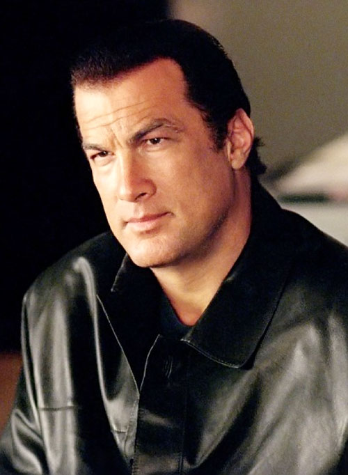 Steven Seagal portrait with a black leather jacket