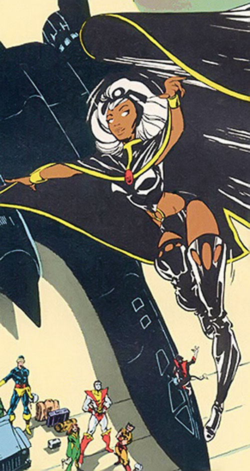 Storm of the X-Men (Marvel Comics) flying above the Blackbird