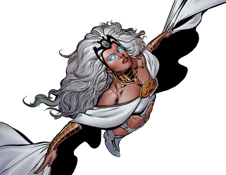Storm flying in her white costume, on a white background, probably by Phil Jimenez