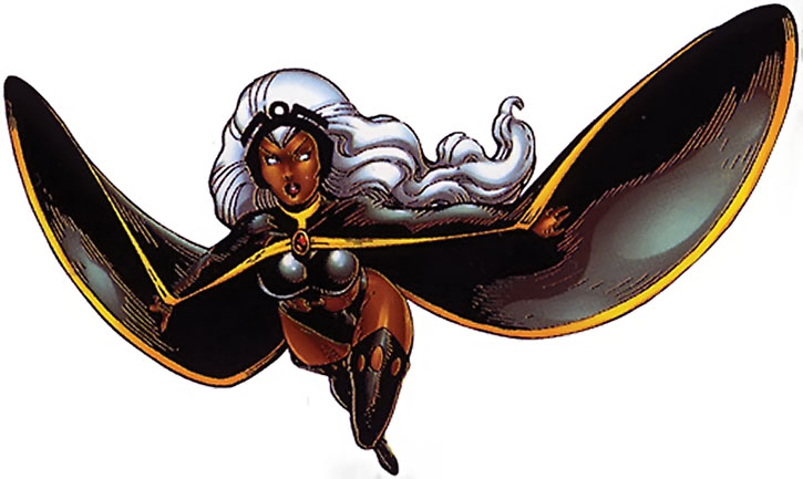 Storm flying in her classic costume, on a white background, probably by Art Adams