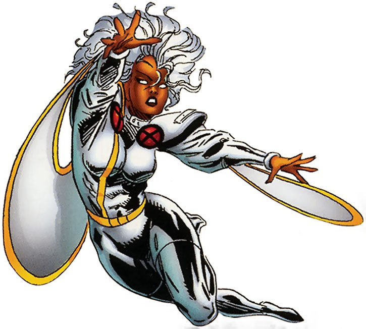 Storm flying in her 1990s costume, on a white background