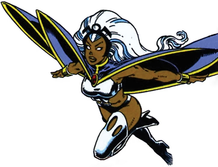 Storm flying in her classic costume, on a white background