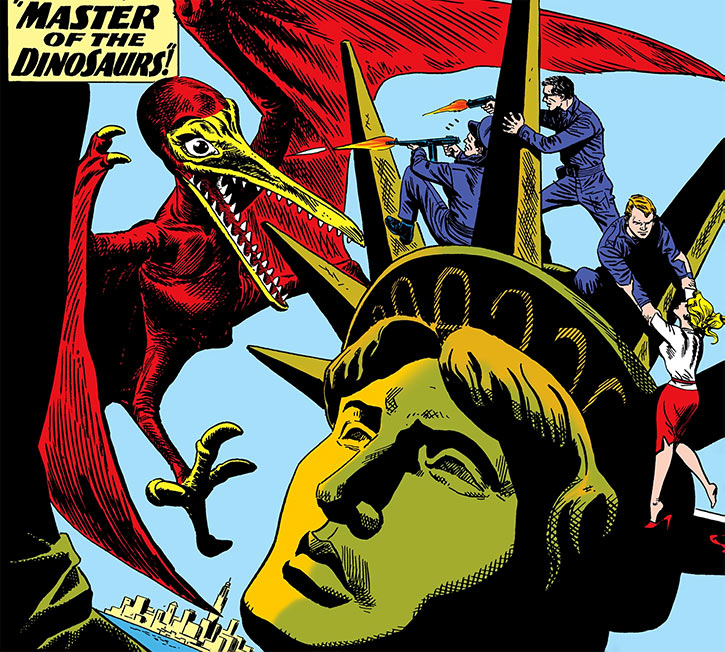 The Silver Age Suicide Squad fights a pterosaur atop the Statue of Liberty