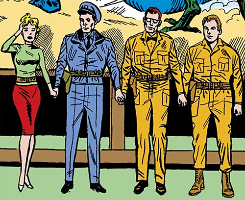 Suicide Squad (Mission X) (Pre-Crisis DC Comics) holding hands and focusing