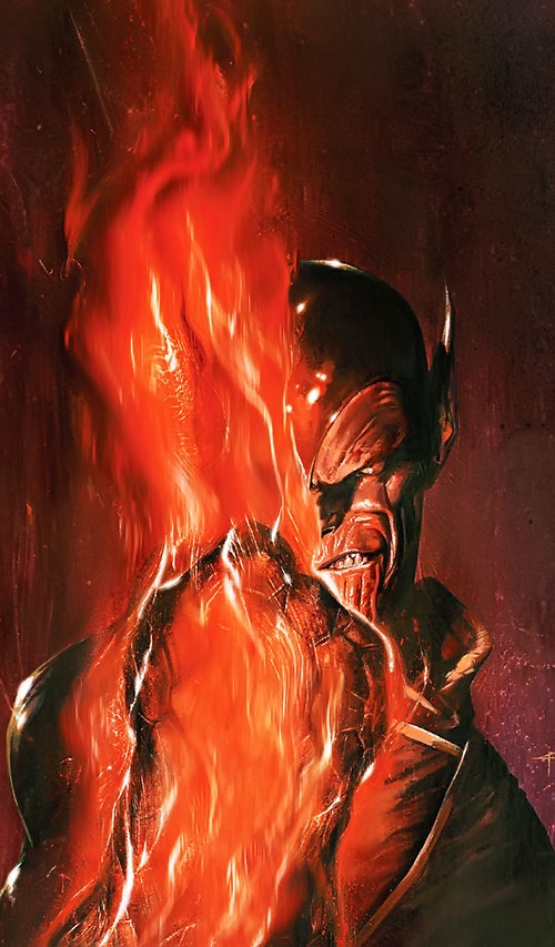 Super-Skrull (Fantastic 4 enemy) (Marvel Comics) portrait with a burning fist
