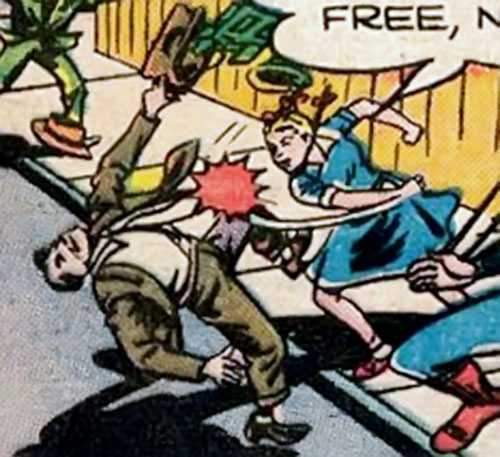 Supergirl (Queen Lucy of Borgonia) (DC Comics) punching a mobster