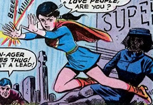 Superlass (Superman's daughter) (DC Comics) blocks bullets