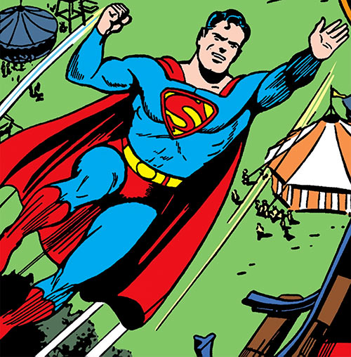 Superman in 1942 (DC Comics) - flying over a circus