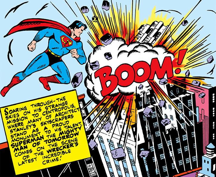 Superman sees a skyscraper explode in 1942