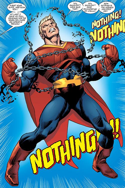 Superman (Imagine Stan Lee version) breaks free of his chains