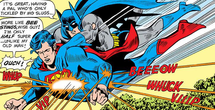 Superman, Jr. and Batman, Jr. getting shot at