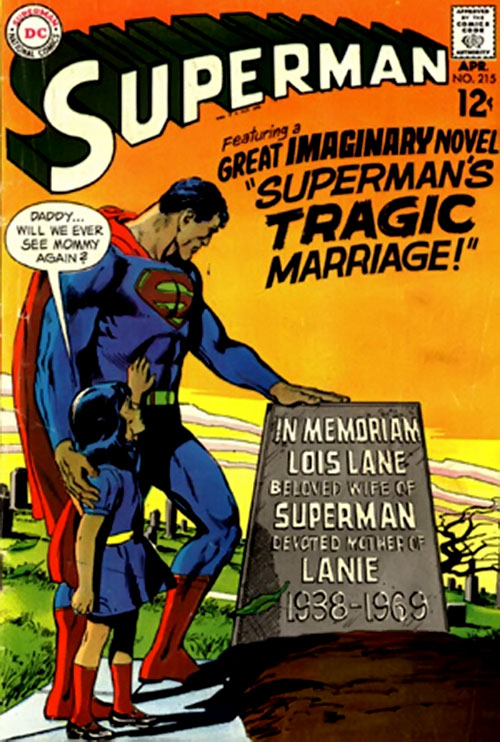 Pre-Crisis Superman (DC Comics) and Lois Lane's tombstone