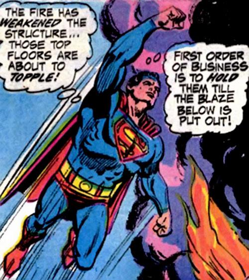 Pre-Crisis Superman (DC Comics) flying over a fire