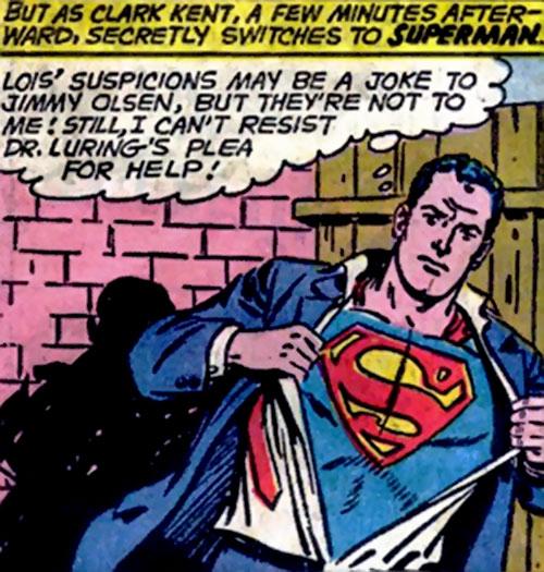 Pre-Crisis Superman (DC Comics) opening his shirt