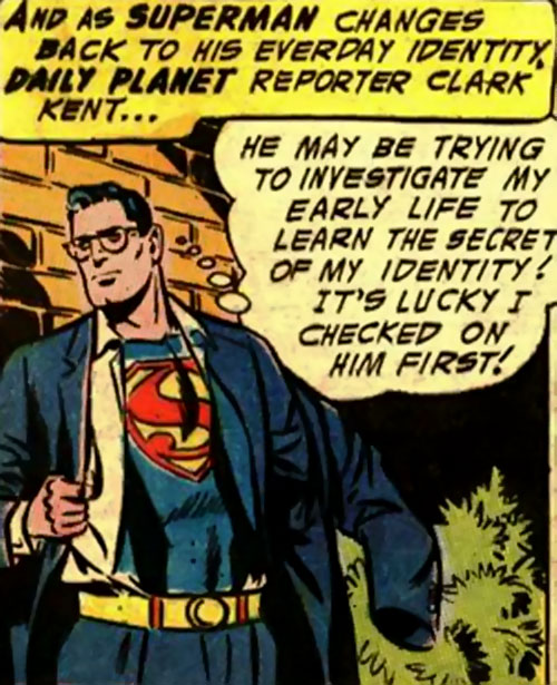 Pre-Crisis Superman (DC Comics) changing into his costume