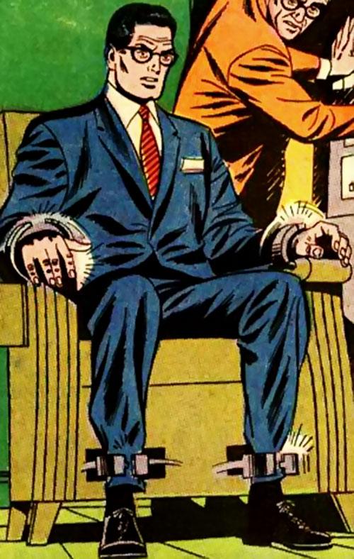 Pre-Crisis Superman (DC Comics) - Clark Kent trapped on a seat