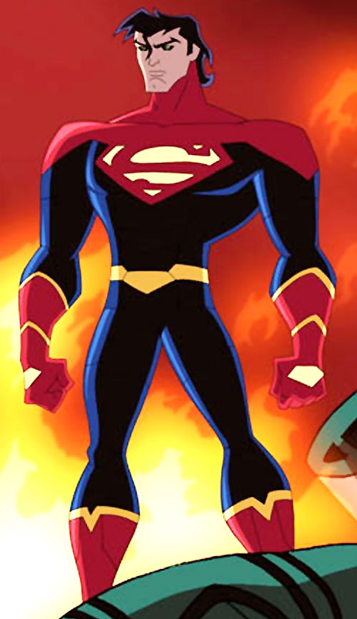 Superman X (Legion of Super-Heroes animated series) standing next to a fire