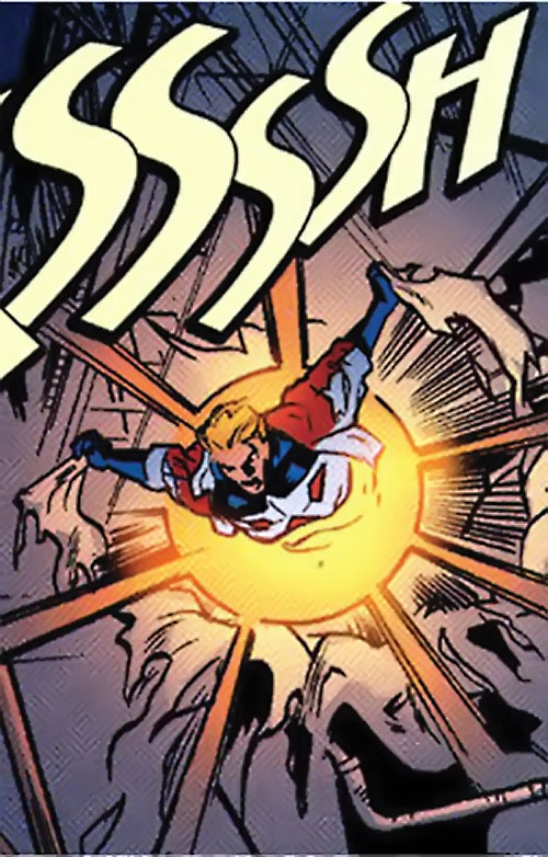 Superstar (Image Comics Busiek) bursting through a wall