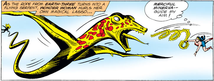 Superwoman (DC Comics) of the pre-Crisis Crime Syndicate turns her lasso into a flying serpent