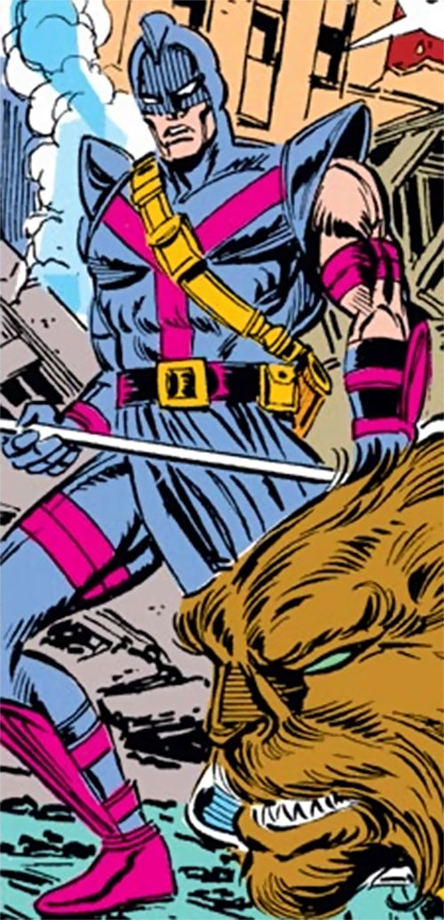 Swordsman of the Gatherers (Avengers enemy) (Marvel Comics) among ruins