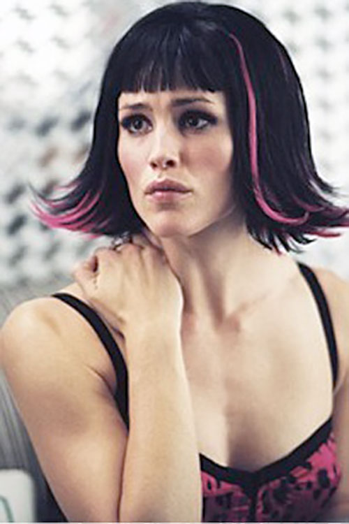Sydney Bristow (Jennifer Garner in Alias) with pink hair locks and ress