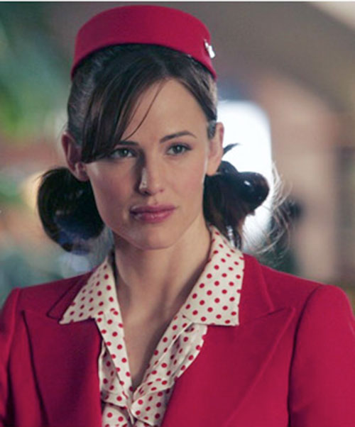 Sydney Bristow (Jennifer Garner in Alias) disguised as a airline attendant