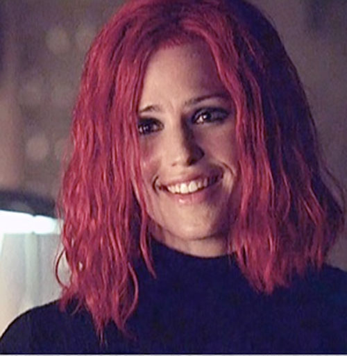 Sydney Bristow (Jennifer Garner in Alias) with red hair and a smile