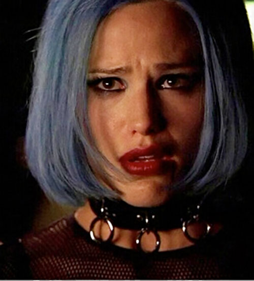 Sydney Bristow (Jennifer Garner in Alias) with blue hair and a collar