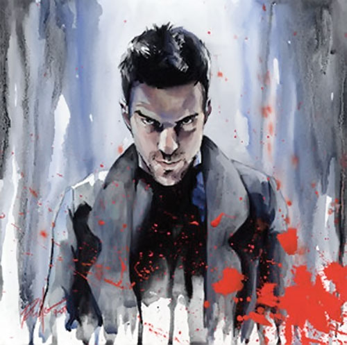 Sylar (Zachary Quinto in NBC's Heroes) smirking painting