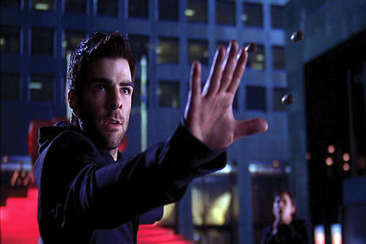 Sylar (Zachary Quinto) mentally stopping bullets