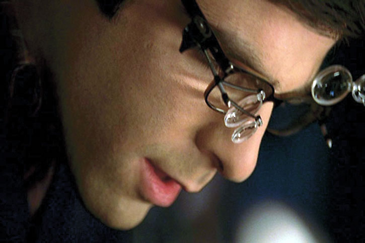 Sylar (Zachary Quinto) with watchmaking magnifiers