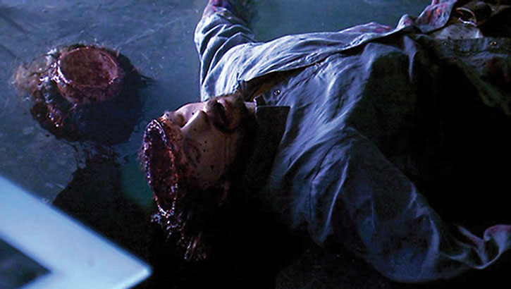 A corpse left by Sylar (Zachary Quinto) with the head sawed open and emptied