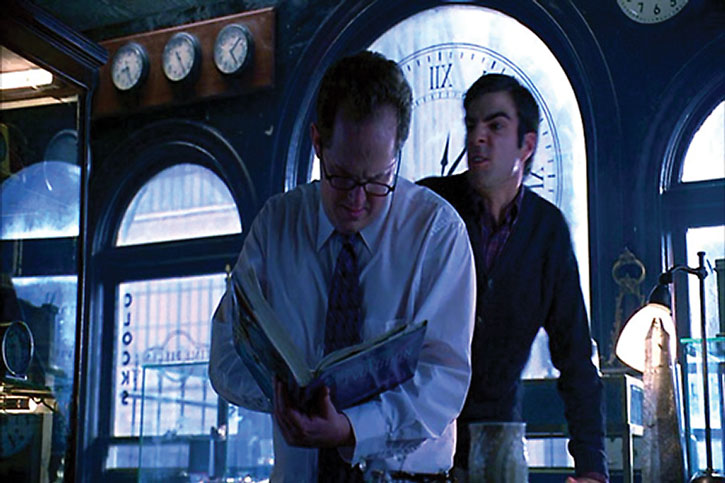 Sylar (Zachary Quinto) about to attack a watchmaker from behind
