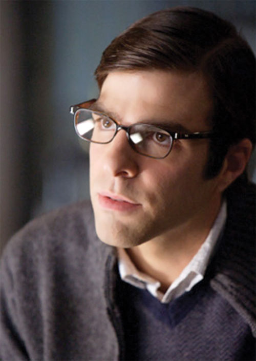 Sylar (Zachary Quinto in NBC's Heroes) clean-shaven with glasses