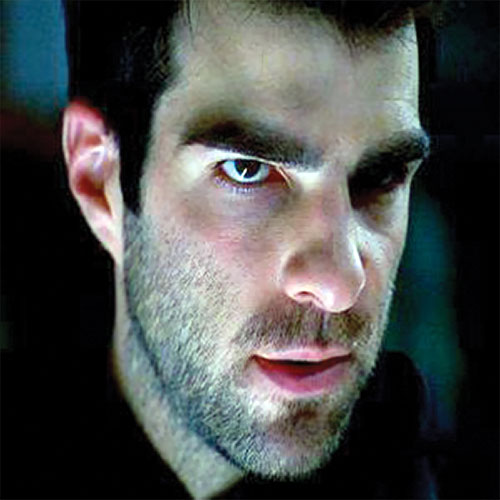 Sylar (Zachary Quinto in NBC's Heroes) unshaven face closeup
