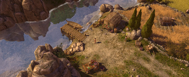 Titan Quest landscape screenshot - river and fields