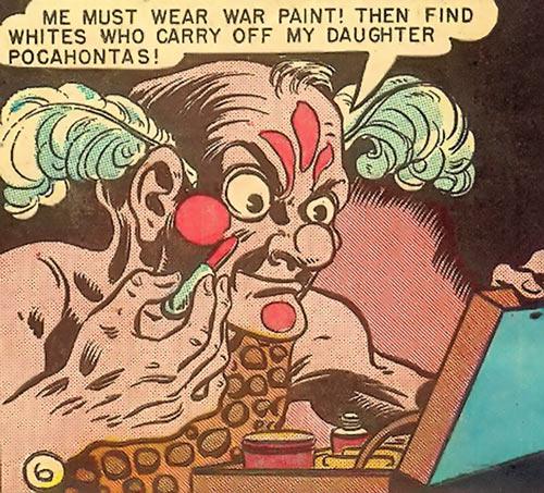 Syonide (1946 Wonder Woman enemy) putting on warpaint