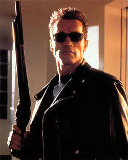 The Terminator (Arnold Schwarzenegger) with a Winchester shotgun