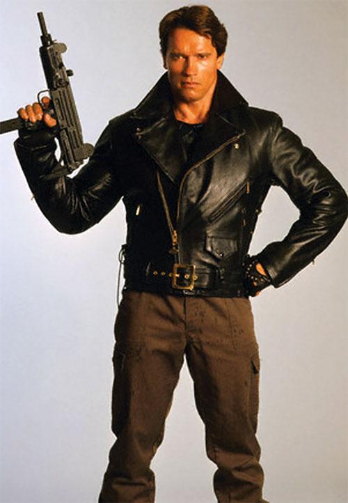 The Terminator (Arnold Schwarzenegger) posing with a Uzi