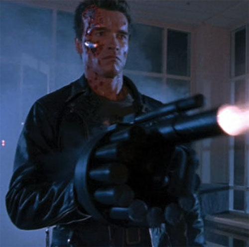 The Terminator (Arnold Schwarzenegger) with a grenade launcher