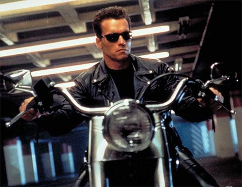 The Terminator (Arnold Schwarzenegger) on a motorbike
