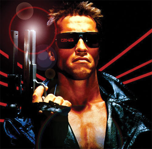 The Terminator (Arnold Schwarzenegger) on a 1980s movie poster