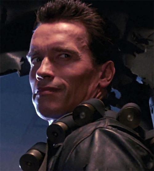 The Terminator (Arnold Schwarzenegger) smiling