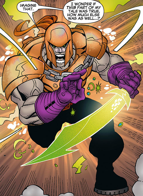 T-Ray (Deadpool enemy) (Marvel Comics) in bronze armor with magic scimitar