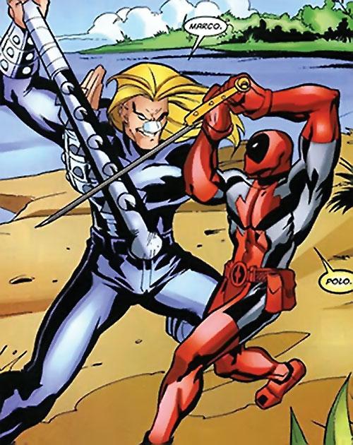 T-Ray (Deadpool enemy) (Marvel Comics) fighting Deadpool on a beach