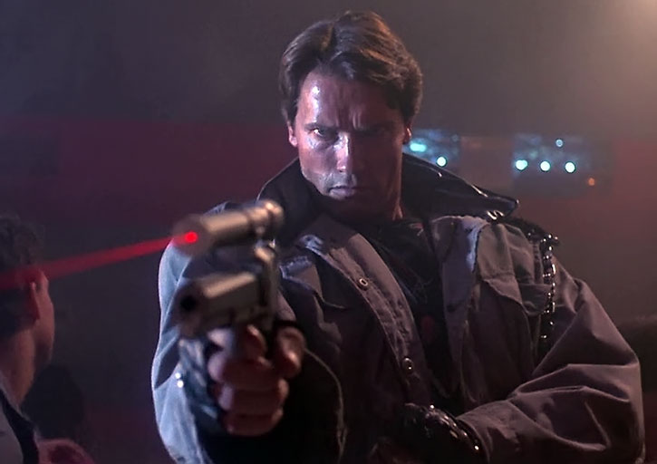 T-800 Terminator aiming a pistol with a huge laser sight